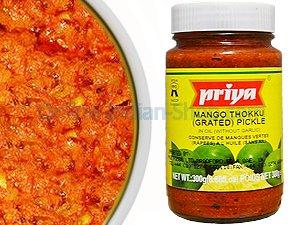 mango pickle, manga thokku, hot, priya