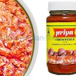 onion pickle, vengaya oorugai, hot, priya